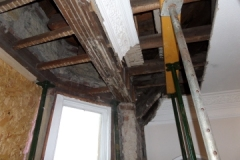 Dry rot in Ceiling/roof timber beam exposed
