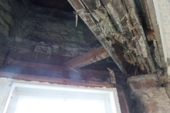 Dry rot in ceiling timber beam end and timbersafe lintel