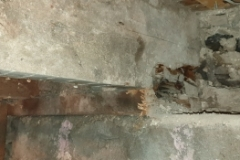 Dry rot in joist end and wall plate